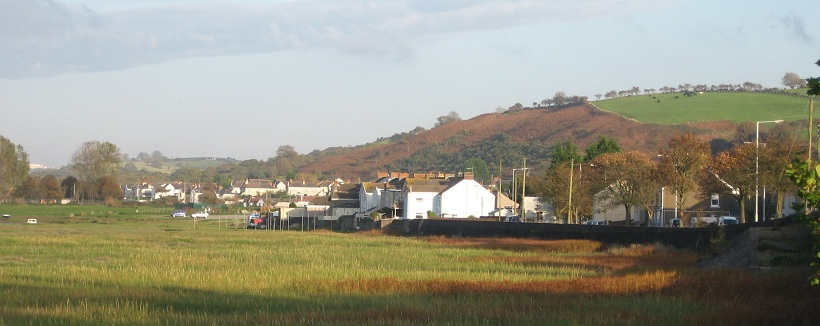 Penclawdd village seen from the sea wall