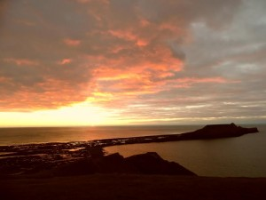 The Worms Head at sunset